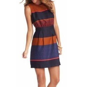 Ann Taylor Loft Pleated Sheath Dress Striped Sz 8P